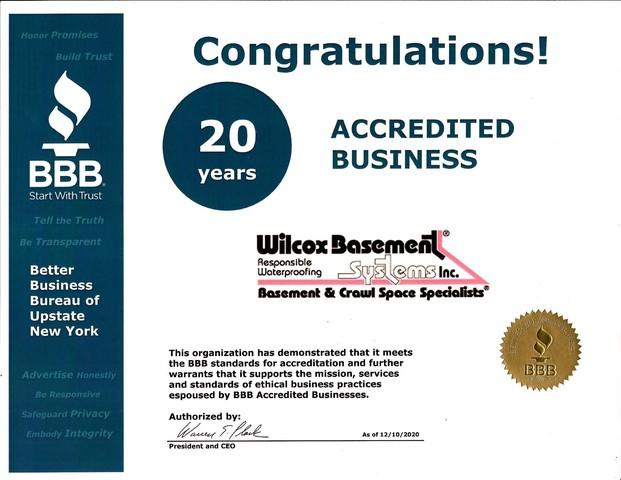 BBB 20 years Accredited Business