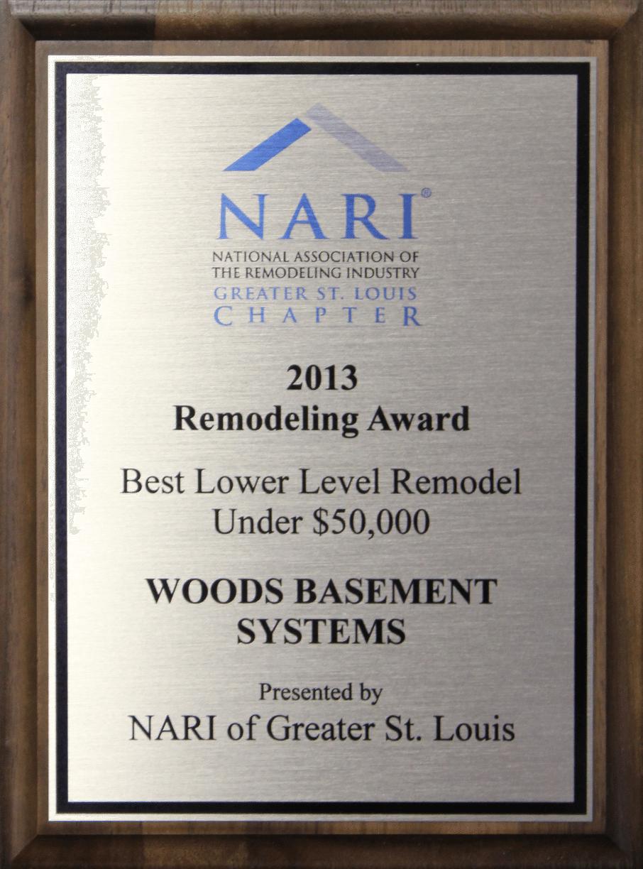2013 NARI Remodeling Award: Best Lower Level Remodel Under $50K