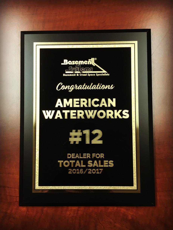 #12 Basement Systems Dealer for Total Sales 2016-17
