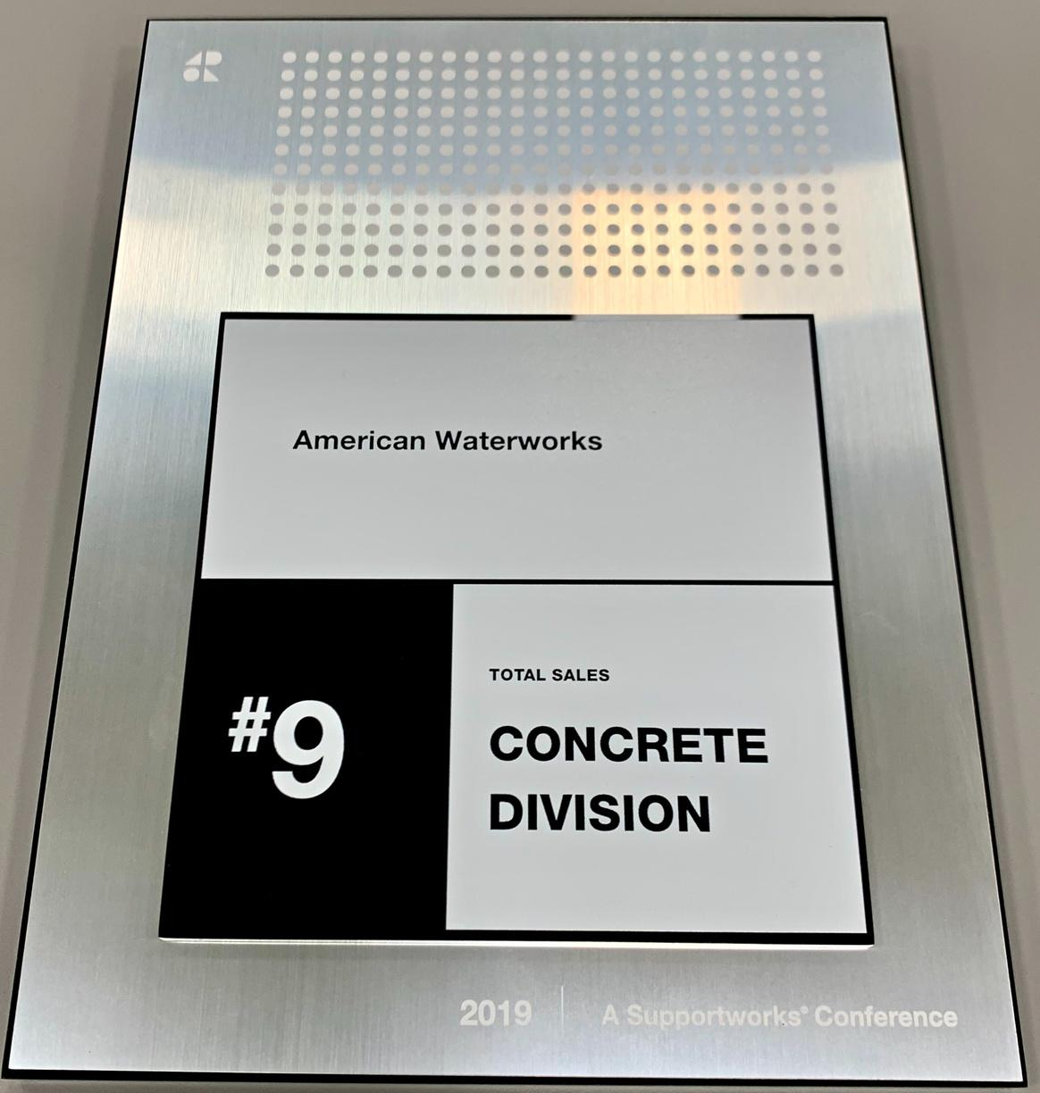 #9 in Concrete Division for 2019 Total Sales