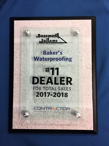 Awarded No. 11 Basement Systems Dealer in North America