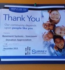Thank You from the Surrey Food Bank