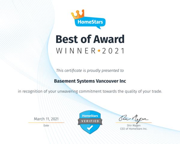 Homestars- Best of Award Trade Winner 2021