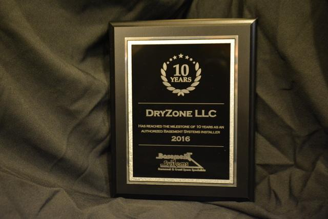 10 Year Milestone With Basement Systems, Inc. Award