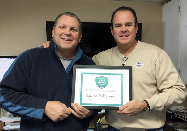 Cowleys Pest Services Earns Esteemed 2016 Angie's List Super Service Award