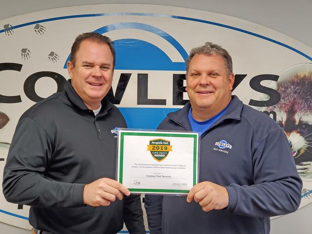 Cowleys Pest Services Earns the Prestigious 2019 Angie's List Super Service Award