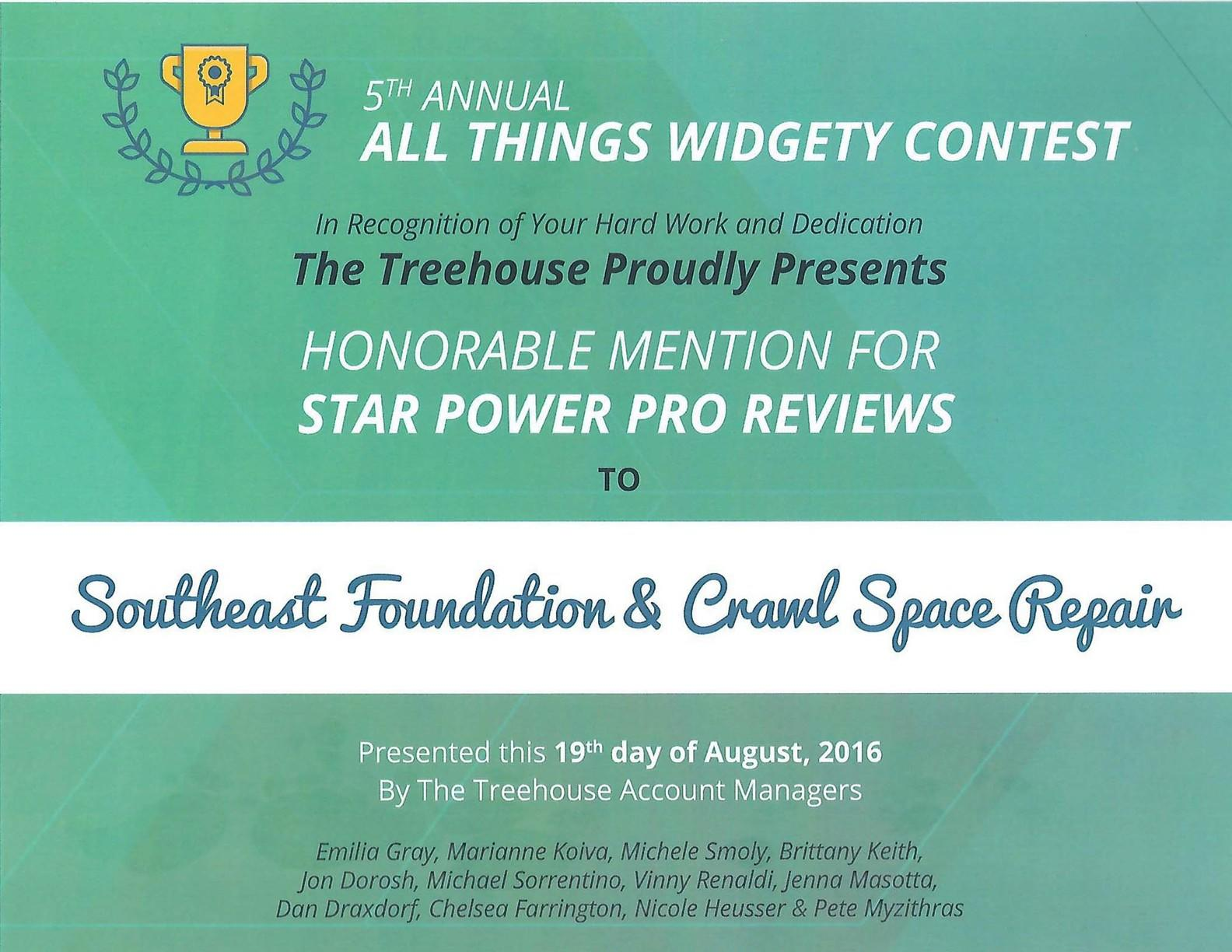 2016 Honorable Mention for All Things Widgety Contest