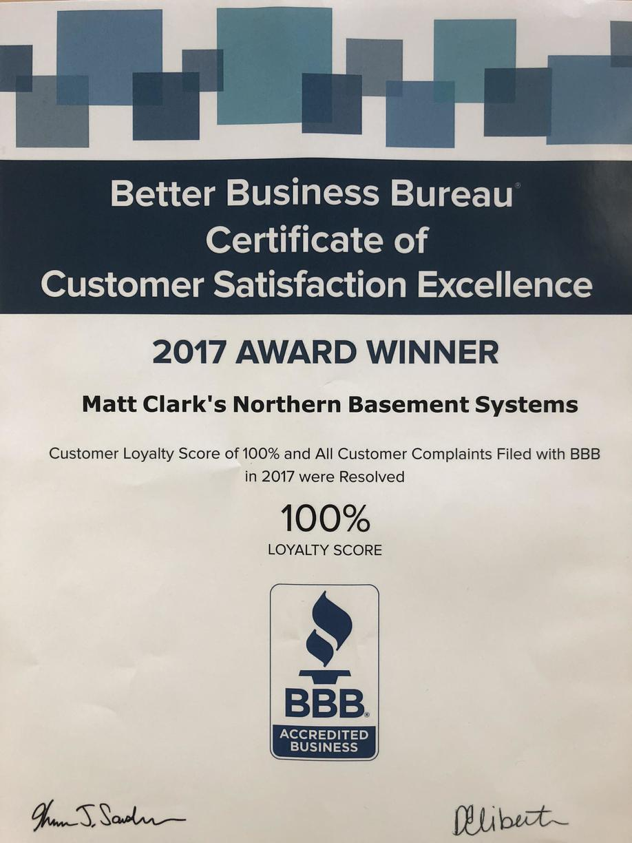 Better Business Bureau Certificate of Customer Satisfaction Excellence