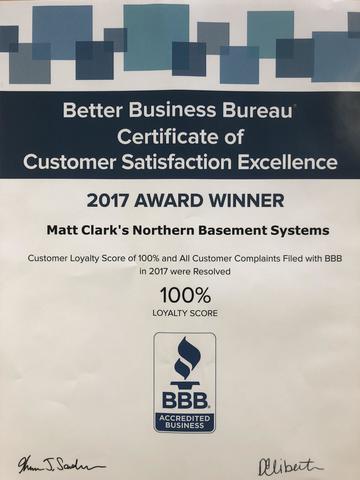 Better Business Bureau Certificate of Customer Satisfaction Excellence