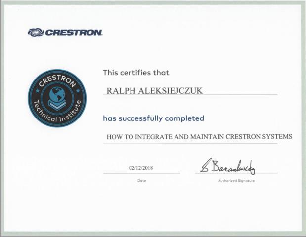 Crestron Certificate- Ralph