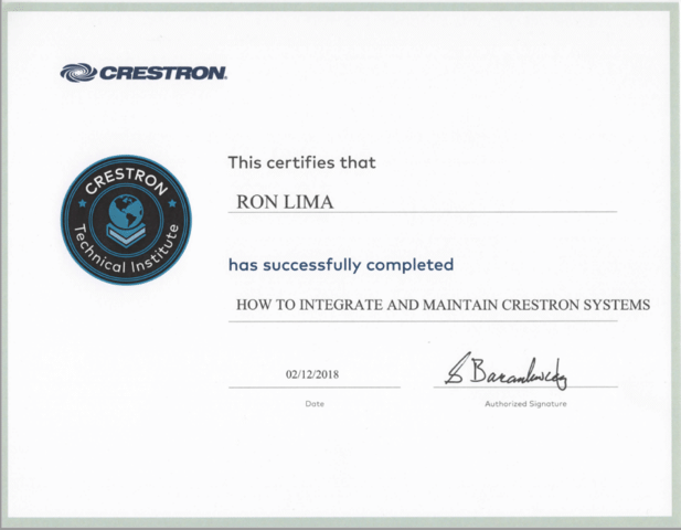 Crestron Certificate-Ron