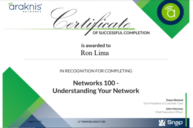 Certificate of Successful Completion - Networks 100