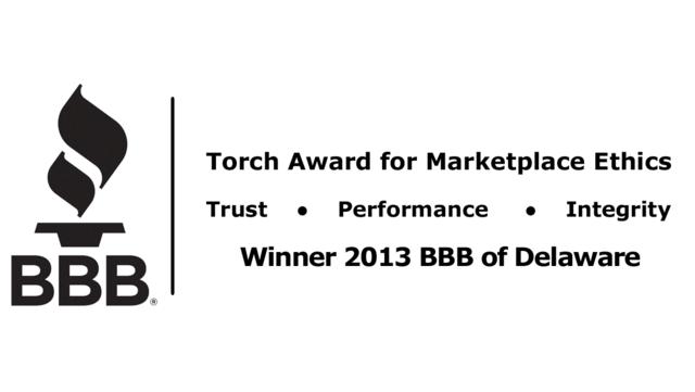 2013 Delaware Better Business Bureau Torch Award for Marketplace Ethics