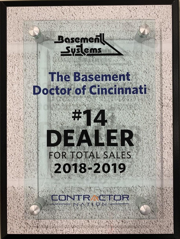 2018-2019 #14 Dealer for Total Sales Basement Systems.