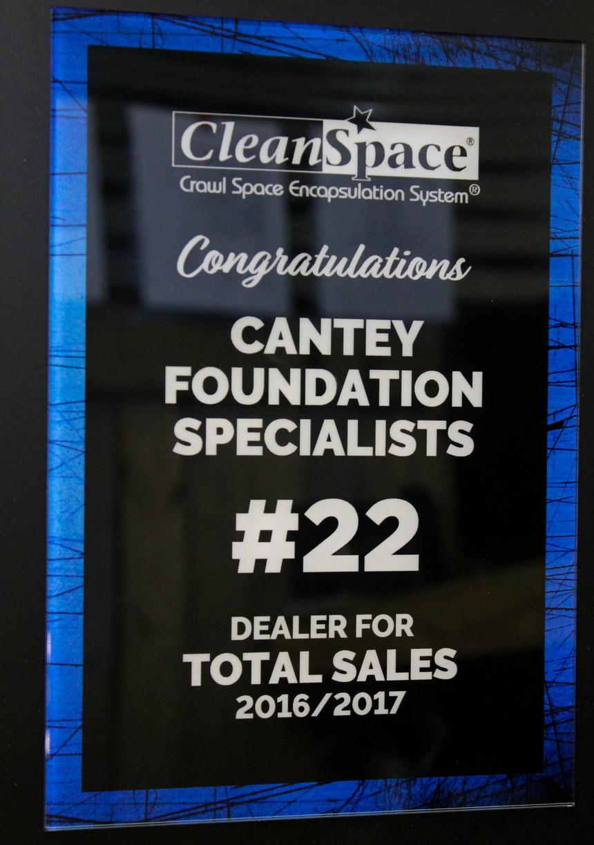 #22 CleanSpace Dealer for Total Sales 2016-2017