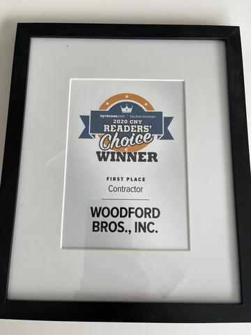 Named Best Contractor in the Central New York Readers Choice Award