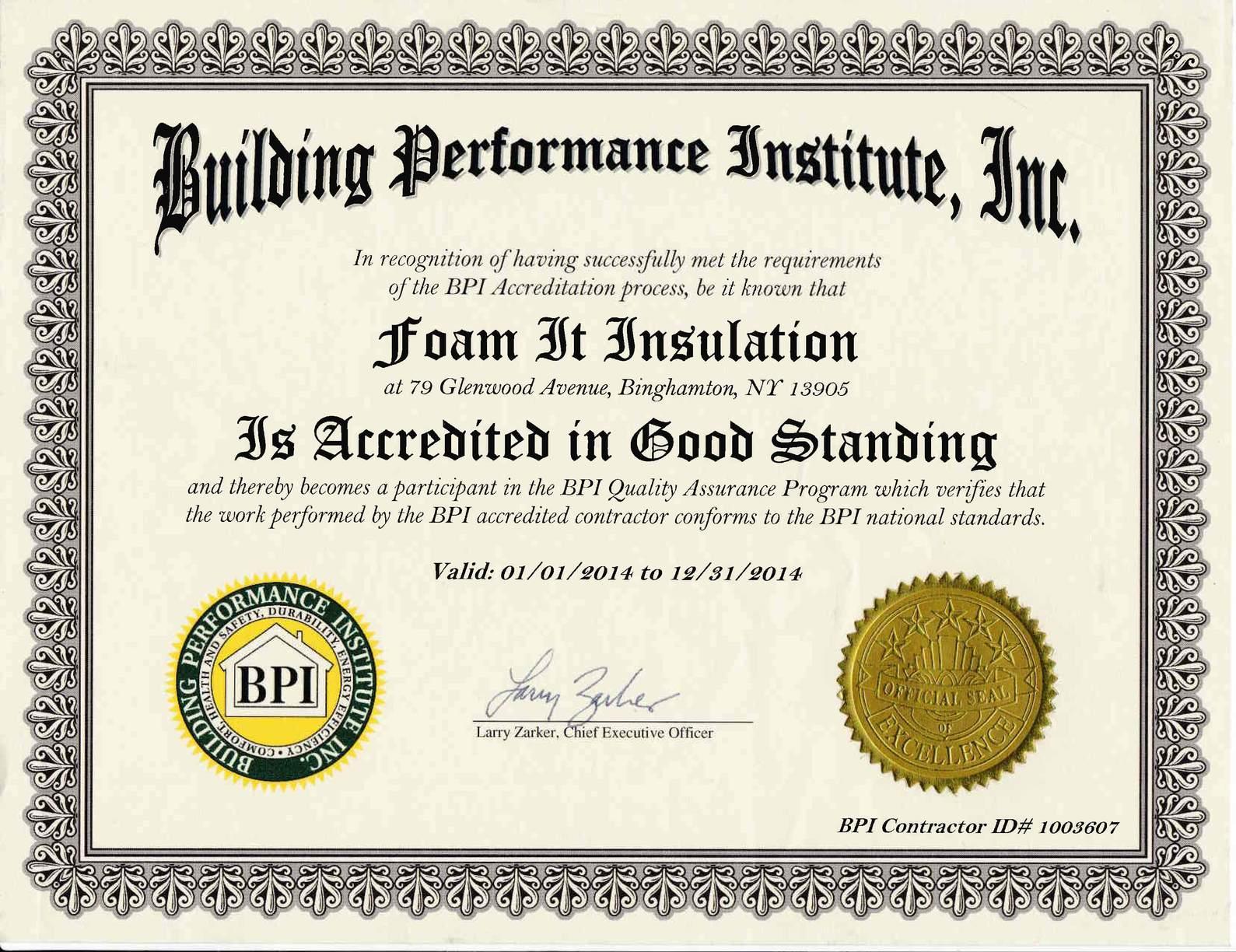 Building Performance Institute 2014 Accreditation Certificate
