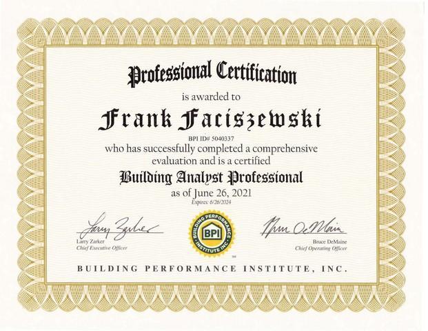 Building Analyst Professional - Frank Faciszewski