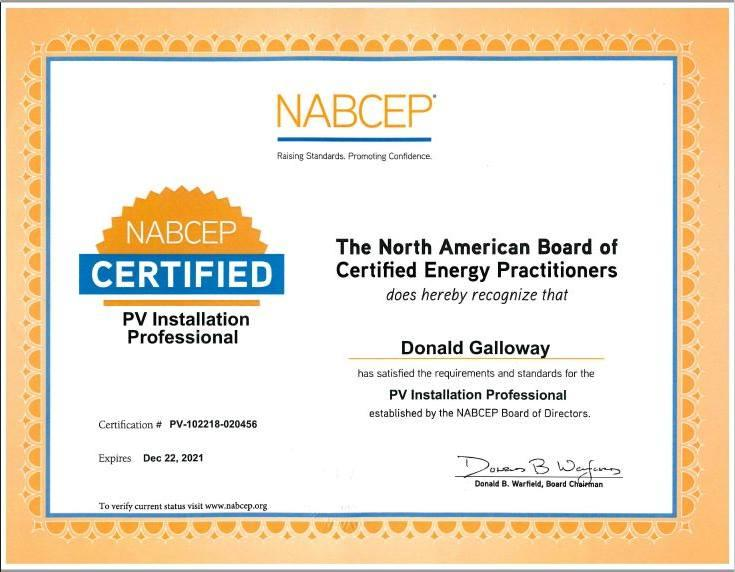 NABCEP PV Installation Professional - Eddie Galloway