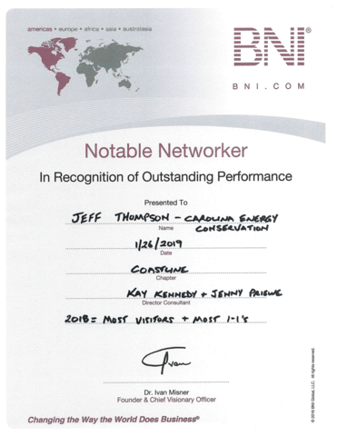 BNI Notable Networker 2019