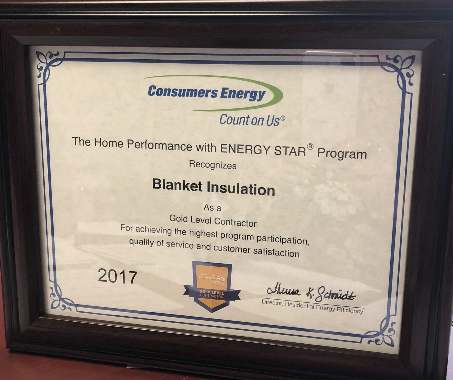 Consumers Energy Gold Star Contractor
