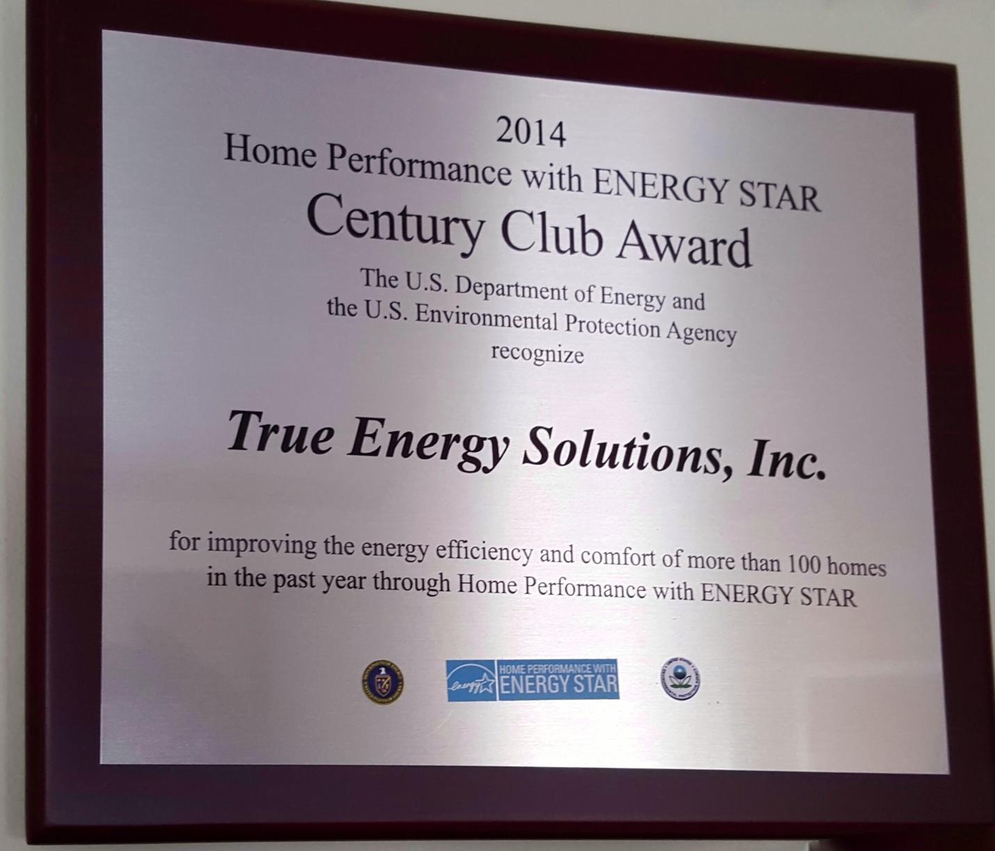 2014 DOE ENERGY STAR -  Century Club Award