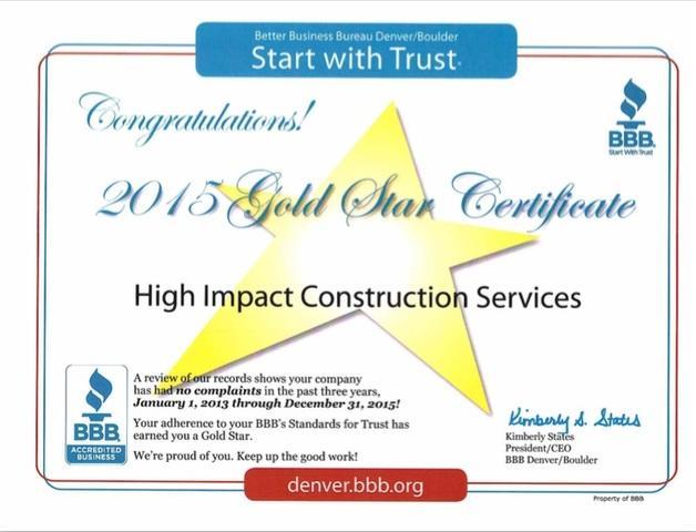 2015 BBB Gold Star Award