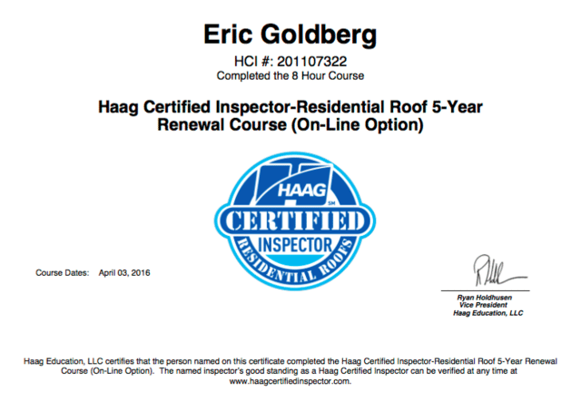 HAAG Certified Inspector - Residential Roof (5 YEAR) Renewal Course