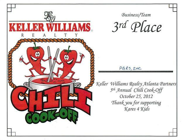 3rd place in Keller Williams Atlanta Partners 5th Annual Chili Cook-Off
