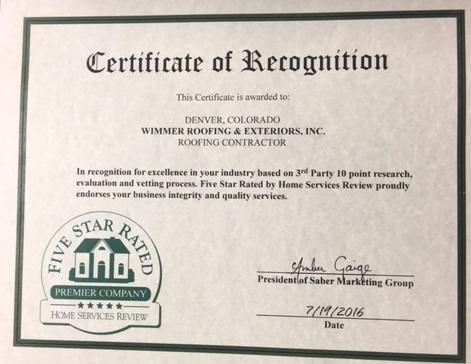 Five Star Rated Certificate of Recognition- Denver, CO