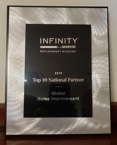 Recognized by Infinity Windows from Marvin as a Top 10 National Partner