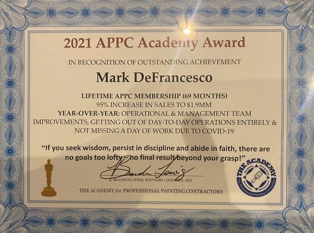 The Academy for Professional Painting Contractors Award
