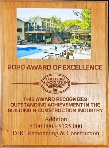 2020 Builders Association of Northwestern Pennsylvania Award of Excellence, Addition $100,000-$125,000