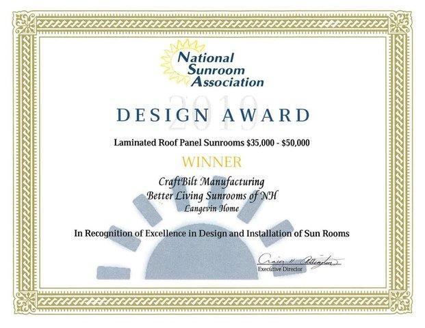 2019 NSA Design Award Winner - Laminated Roof Panel Sunrooms $35,000-$50,000