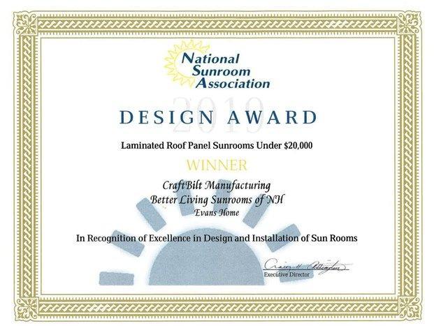 2019 NSA Design Award Winner - Laminated Roof Panel Sunrooms Under $20,000