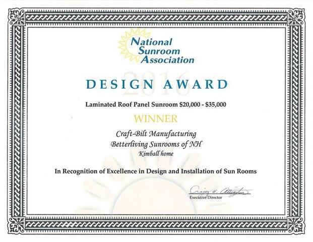 2016 NSA Design Award Winner - Laminated Roof Panel Sunroom $20,000-$35,000