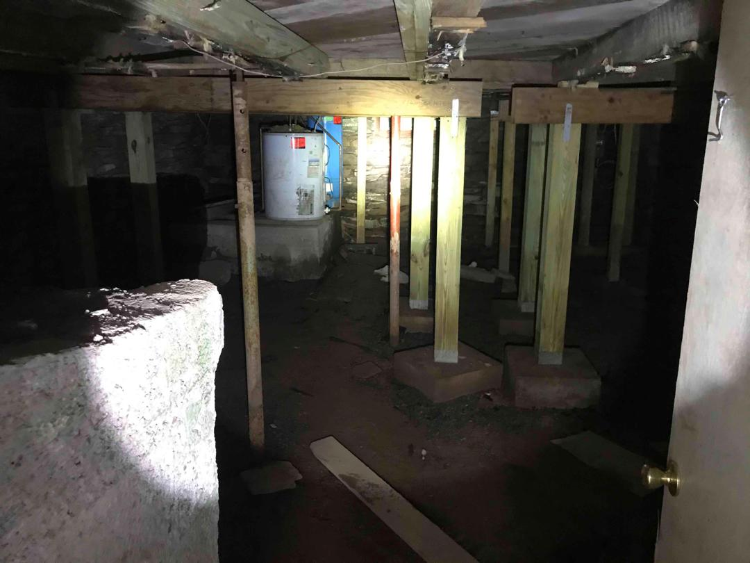 Old Basement Waterproofing in Maplecrest, NY - Before Photo