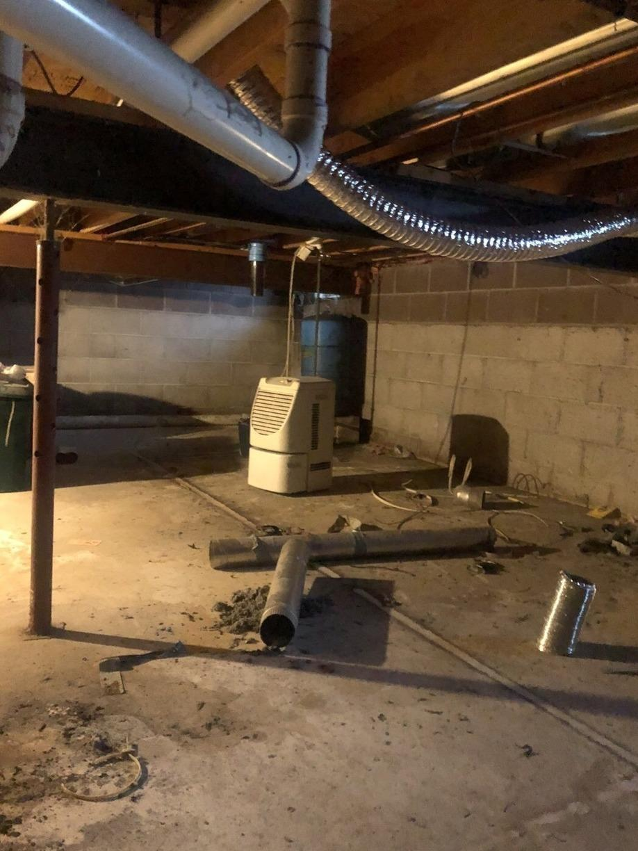 Waterproofing and CleanSpace Wall System in Chatham, MI - Before Photo