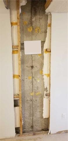 Réparation d'une fissure dans un mur de fondation à L'Île-Bizard