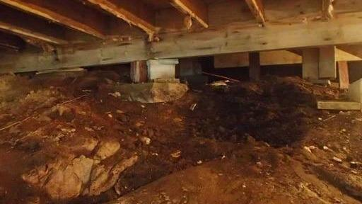 A transformation of a large crawl space in Harrington, Qc.