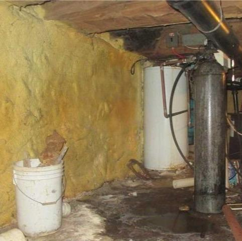 A significant water infiltration of a crawl space in Howick, Qc