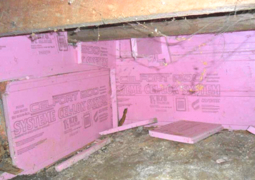 Insulation of a cold and wet crawl space in Chomedey, Qc