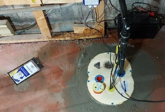 Replacement of a sump pump system in a basement in Mont-Saint-Hilaire, Qc