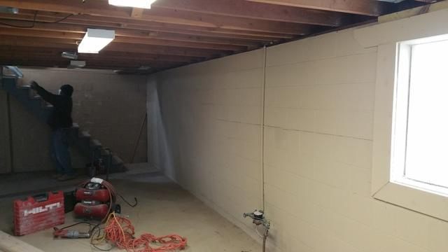 Bowing Walls Corrected with PowerBraces in Des Moines, IA  - Before Photo