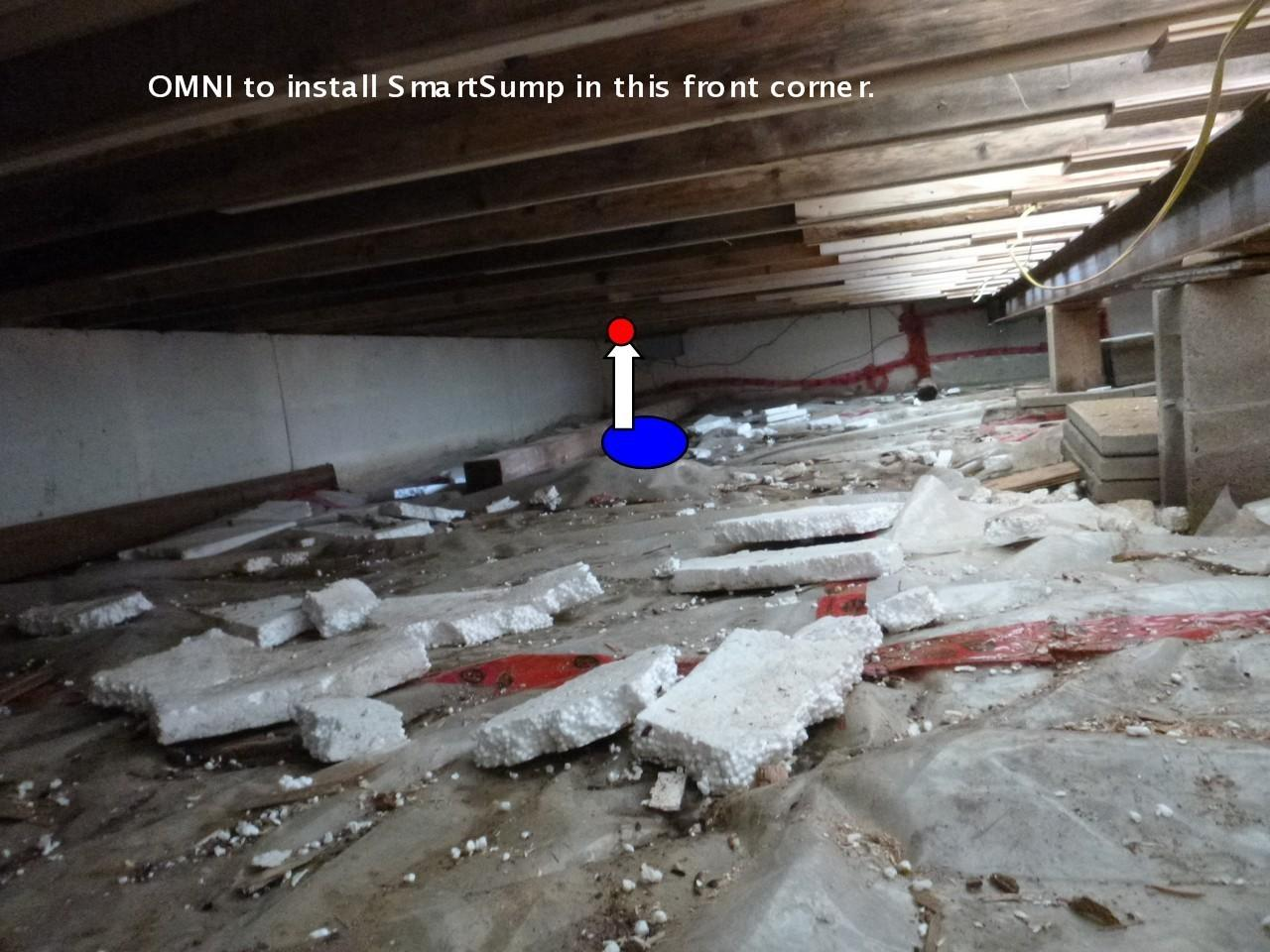 Crawlspace vapor barrier and encapsulation in Selkirk - Before Photo