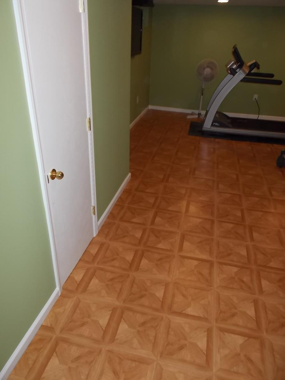 Thermal Dry Parquet Basement Flooring Installed - After Photo