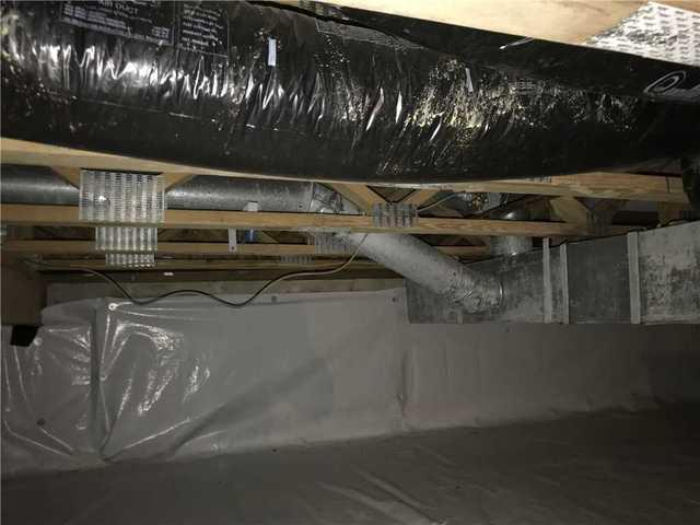 SmartJack Stabilizers Installed in Burlington County, NJ Crawl Space - Before Photo