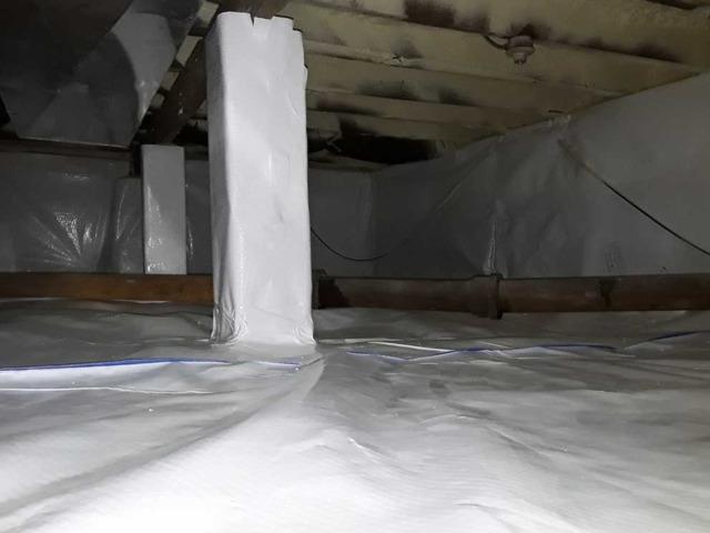 Damp Crawl Space in Belford, NJ. Sealed By Encapsulation