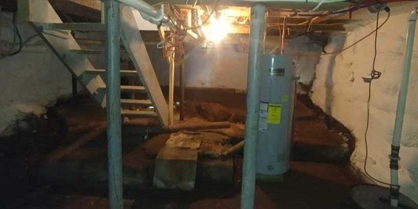 CleanSpace Encapsulation Protects Kennebunkport, ME Crawlspace from the Elements - Before Photo