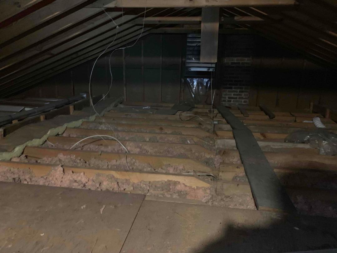 Cellulose Insulation in Chester, VA Attic - Before Photo